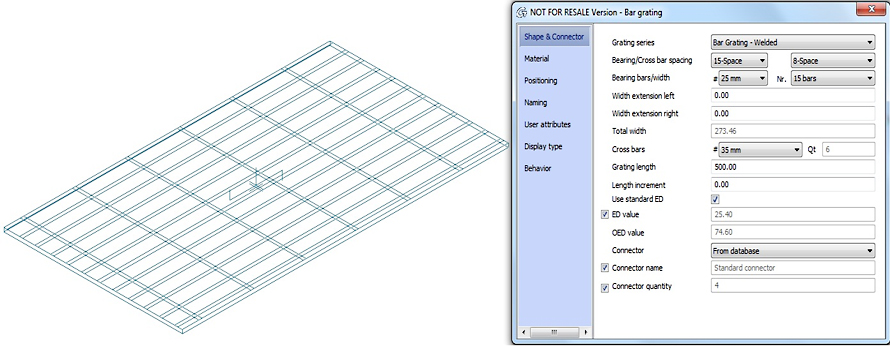 How to configure Bar grating sizes?