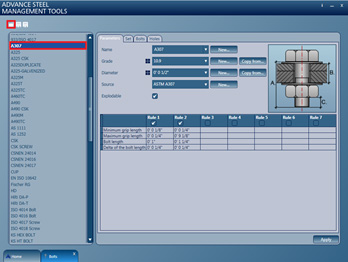 How to import A307 bolts using the Advance Steel Management Tool (ASMT)