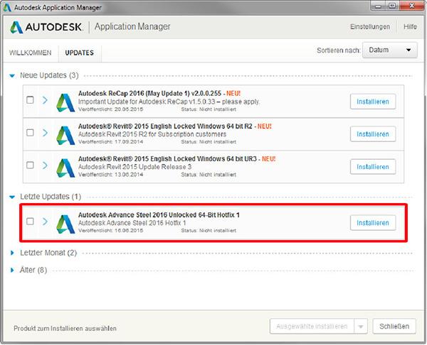 Wie installiere ich das Autodesk Advance Steel 2016 Hotfix1?