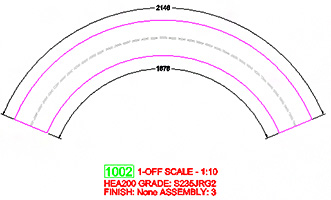 How are radial dimensions placed on curved beam shop drawings?