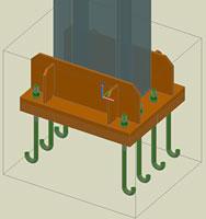 Advance Steel - opţiunea adăugă/şterge elemente dintr-o îmbinare cu ancore