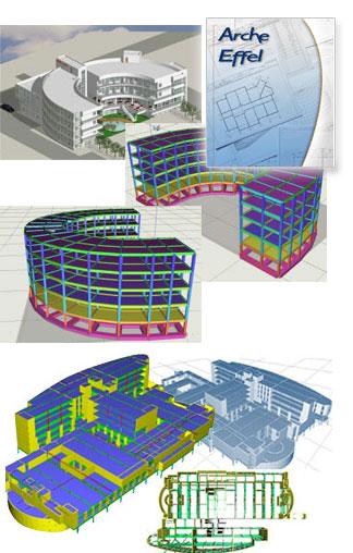 Effel : un program de calcul cu elemente finite pentru structuri de beton, metalice sau de lemn, care ofera un mediu complet pentru analiza structurala; Arche : Analiza structurala a cladirilor din beton armat si producerea automata a desenelor de executie