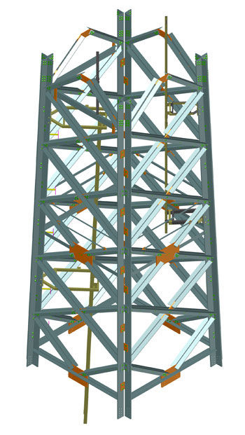 Steel grid tower for a wind energy plant, Spremberg, Germany