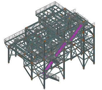 Steel structures for sustaining technological equipment, Romania