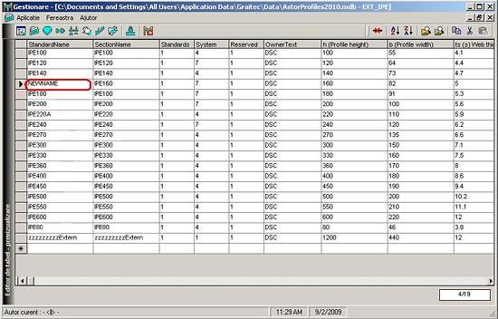 Cum se modifică numele secţiunilor pentru o clasă de profile