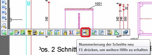 Wie werden Schnitte auf der Zeichnung automatisch neu benannt