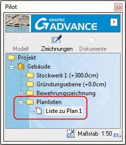 Wie können in Advance planbezogene Bewehrungslisten erstellt werden