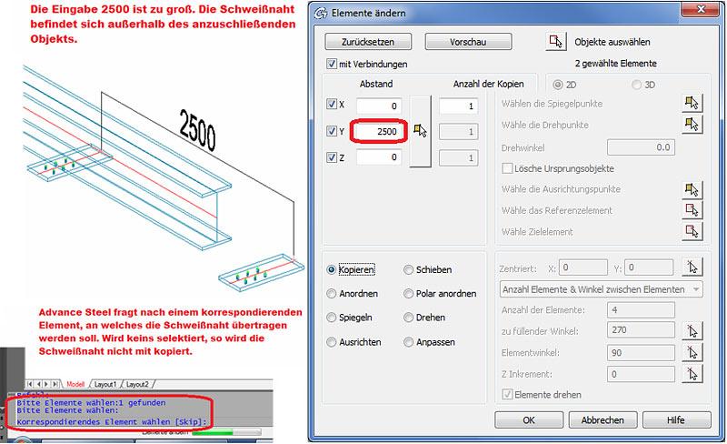 Wie werden Schweißnähte in Advance Steel kopiert
