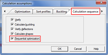 How is the section optimization wizard configured