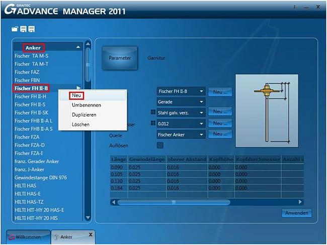 Wie wird ein Anker im neuen  Graitec Advance Manager erzeugt?