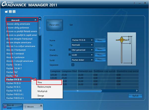 Cum se creează o ancoră în noua aplicaţie Graitec Advance Manager