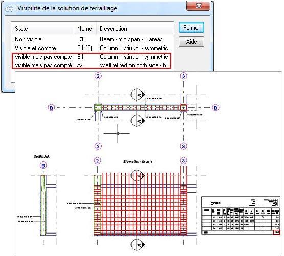 Comment gérer l'affichage des aciers des solutions de ferraillage dynamique sur le plan de ferraillage