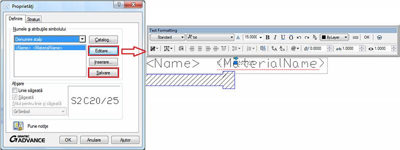 Cum se adaugă simboluri şi etichete pentru elementele structurale dintr-un plan de cofraj