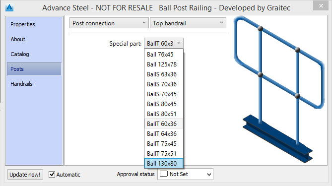 How is a new ball size added in the Ball Post Railing database?