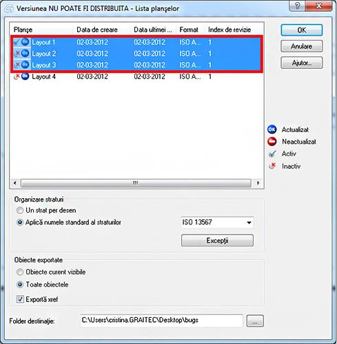 Cum se pot exporta mai multe planşe în format DWG?