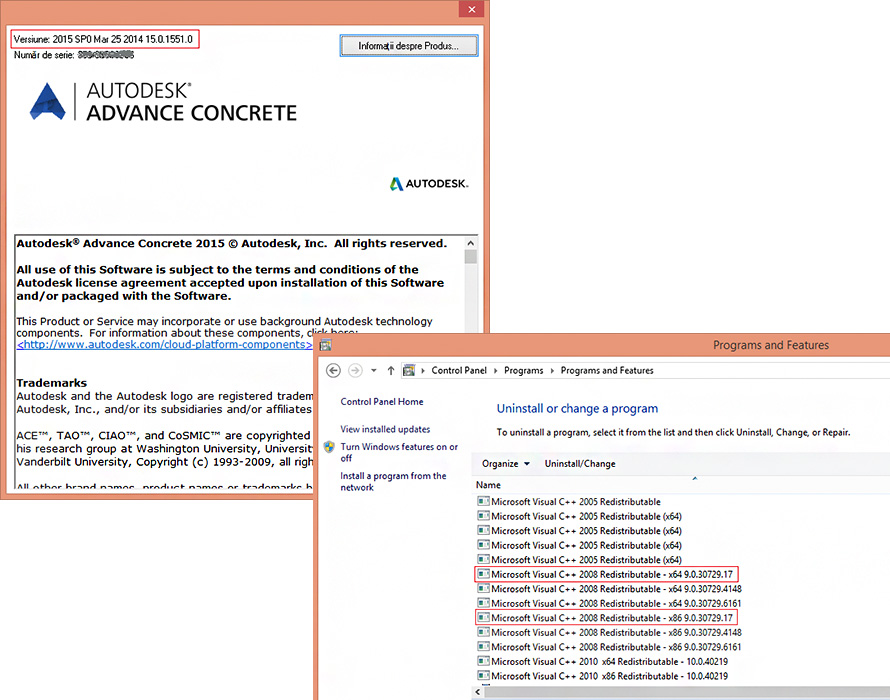How to manage Microsoft VS 2008 redistributables after Autodesk Advance Concrete 2015 installation?