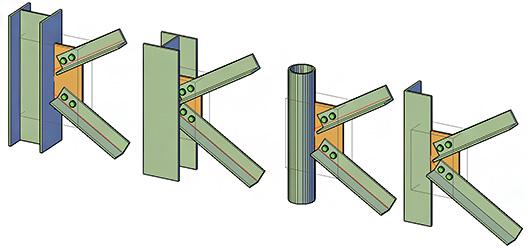 Ce secţiuni pot avea elementele conectate de îmbinările cu guseu în Advance Design Steel Connection?