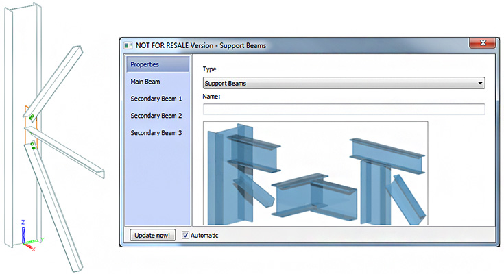 How Can The User Modify Joint Support Beams Properties In