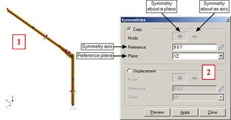 How are the symmetry modes used in Advance Design