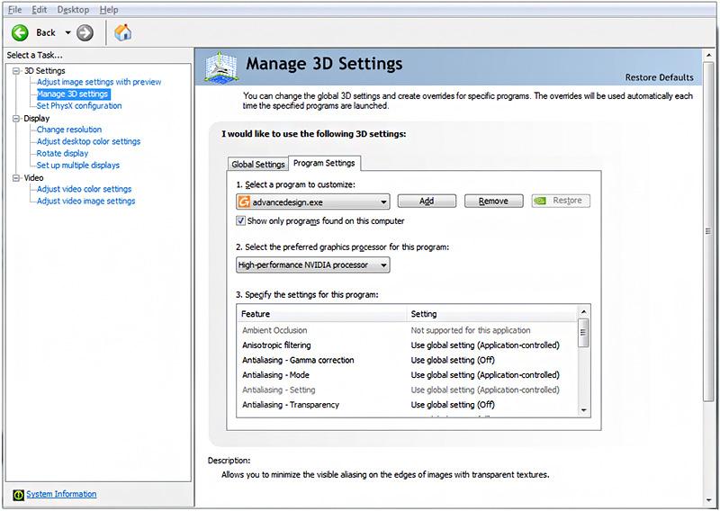 Cum se configurează setările plăcii grafice pentru o optimă utilizare a funcţiilor CAD din ADVANCE Design