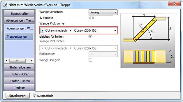 Wie wird ein Anwenderprofil einer Treppenwange in Advance Steel zugeordnet?