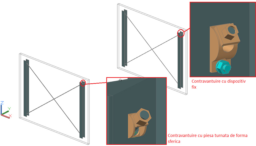 Cum se adaugă elemente şi piese speciale noi în îmbinările predefinite 'Contravântuiri cu piesă turnată de forma sferică' şi 'Contravântuiri cu dispozitiv fix'?