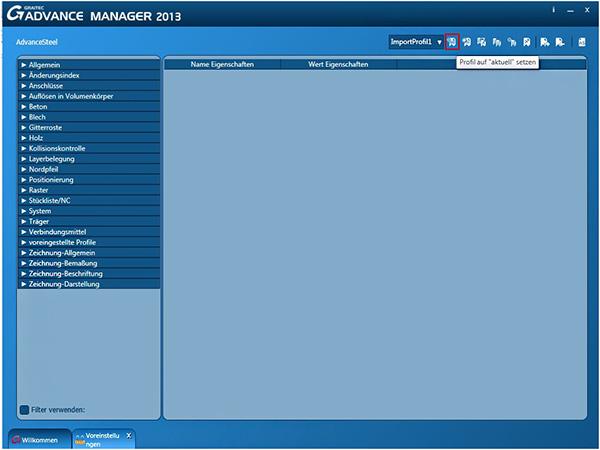 Wie können Voreinstellungen mit Hilfe des Graitec Advance Manager in ein Profil exportiert und importiert werden?