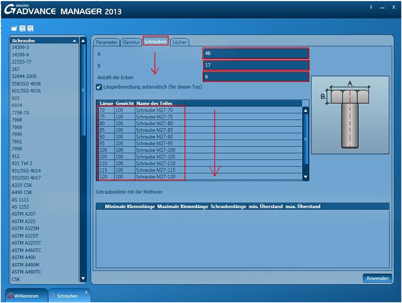 Wie kann ich im Graitec Advance Manager eine Schraube erzeugen?