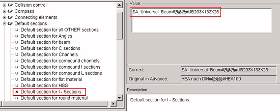 How do I define the I-section used by default when creating a beam