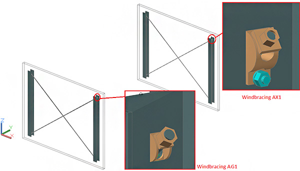 How are new member systems and special parts added to the 'Wind bracing AG1' and 'AX1' joints?