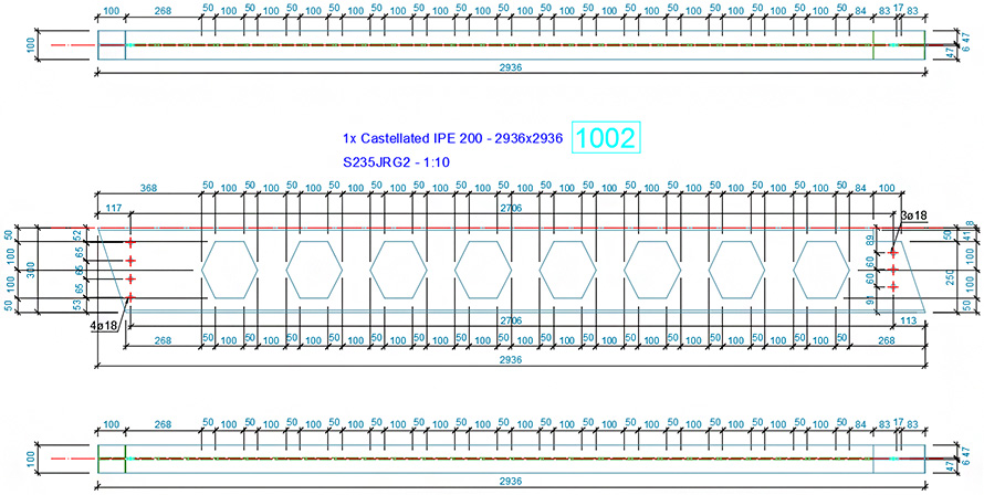 How to configure a single part drawing style for a castellated/cellular beam?