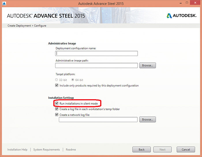 How to create a deployment in order to install Advance Steel 2015 in silent mode?