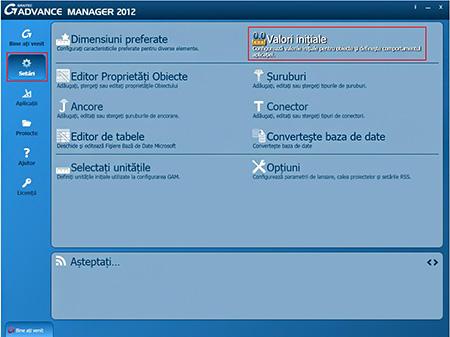 Cum se pot exporta şi importa valorile inţiale dintr-un profil utilizând Graitec Advance Manager?