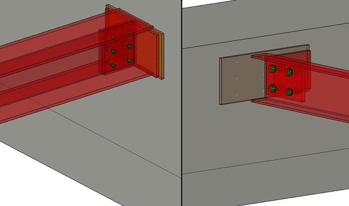 Cum se creează îmbinările predefinite între elemente din beton şi cele din metal în Advance Steel?