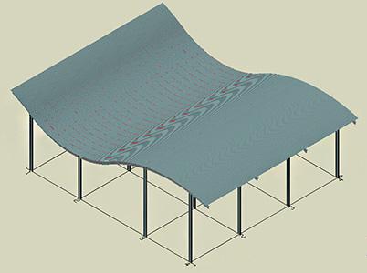Wie kann eine Fassade auf einer gebogenen Fläche definiert werden?