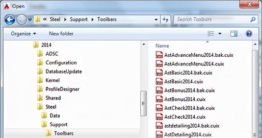 Cum pot fi importare barele de instrumente din Autodesk Advance Steel 2014 în Autodesk Advance Steel 2015?