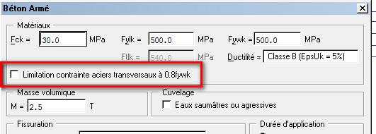Dans quel cas faut-il cocher l'option Limitation contrainte aciers transversaux à 0.8fywk du menu Hypothèses