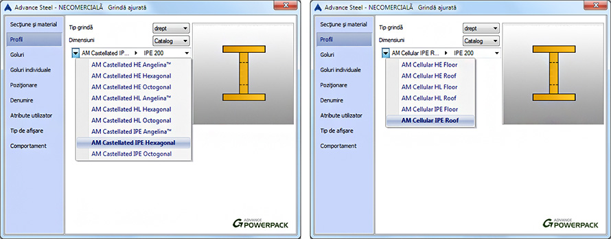 Cum sunt modelate grinzile ajurate de catalog sau definite de utilizator?