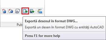 Cum se pot exporta fişiere de Advance Concrete în format DWG?