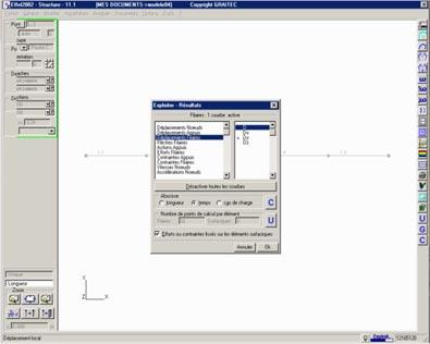 Comment forcer le choix du point d'exploitation des résultats sur un élément filaire dans le cas d'une analyse temporelle