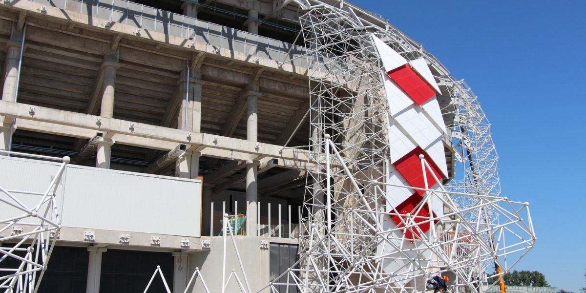 Facade grid structure for the Spartak Stadium