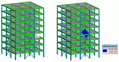 GRAITEC Advance Design | Meshing | Bracing member with the biggest work ratio
