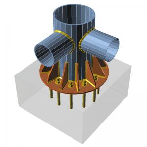 GRAITEC Advance Design | Connection | Base plate, stiffeners, cuts
