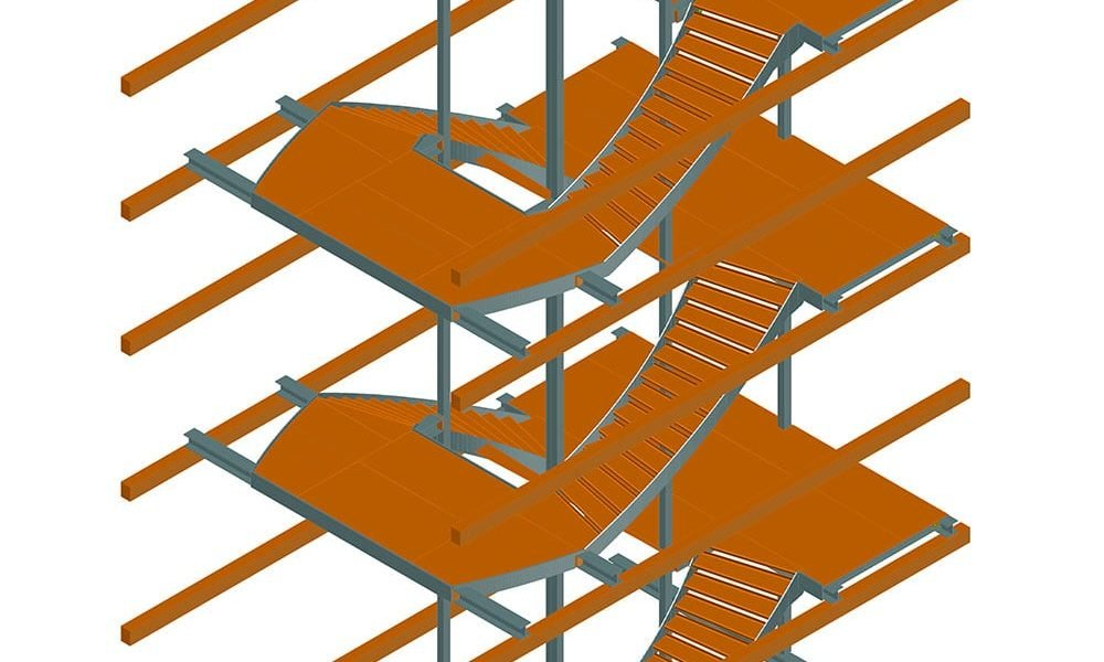 Staircase with curved stairs