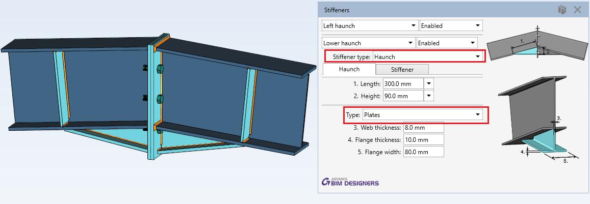 Steel Connection Designer - Apex Haunch Connection