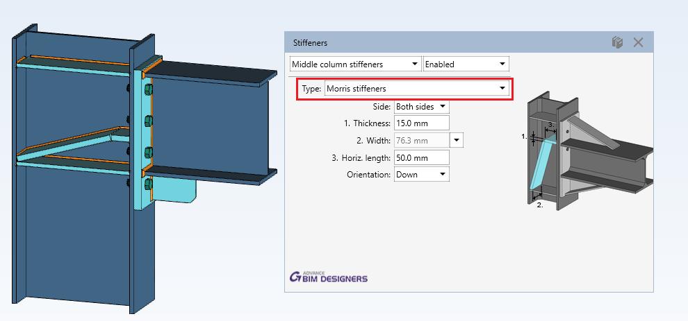 Steel Connection Designer - Middle column stiffeners