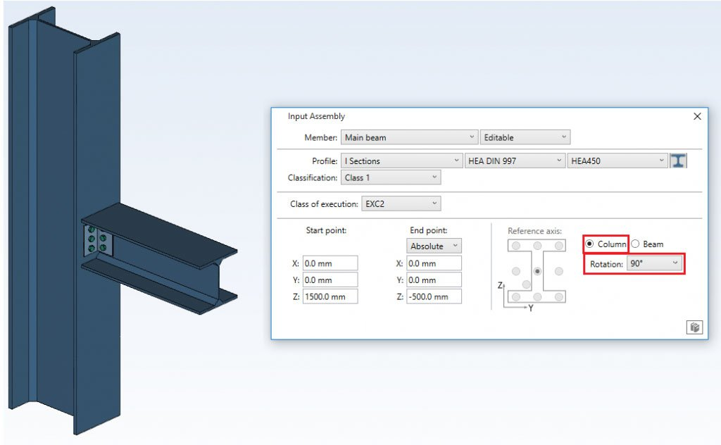 Clip Angle - joint profile section - input assembly