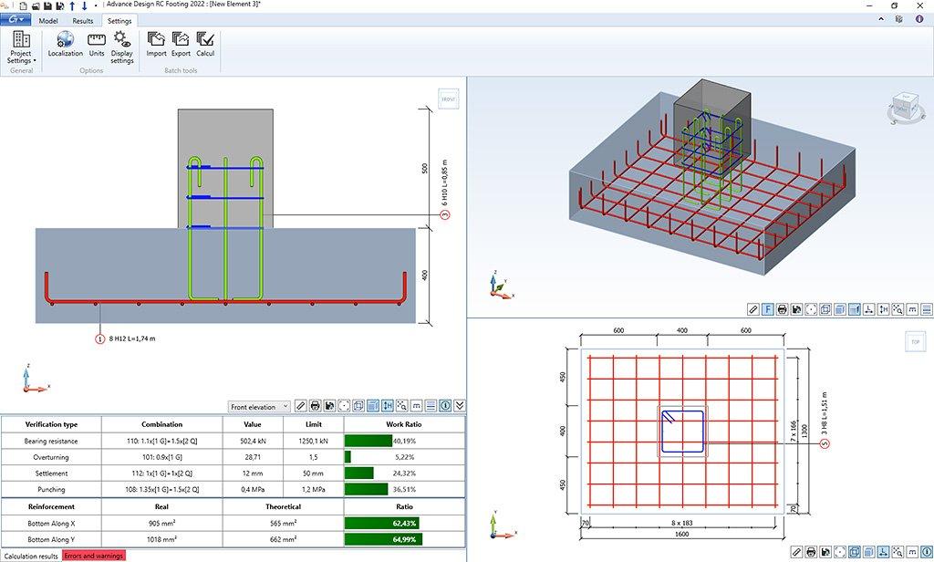 GRAITEC Advance Design Reinforced Concrete Footing